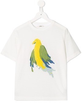 Fith parrot printed T-shirt - White