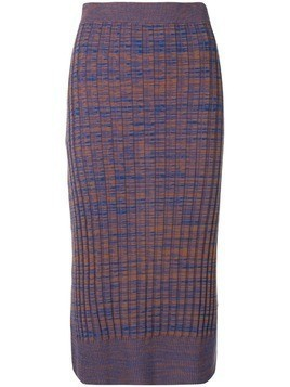 Jil Sander Navy knitted ribbed pencil skirt - Blue