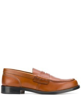 college tonal stitch loafers - Brown