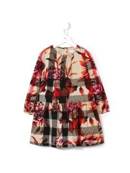 Burberry Kids peony rose print check dress - Multicolour