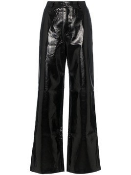 Charm's high waisted straight leg leather trousers - Black