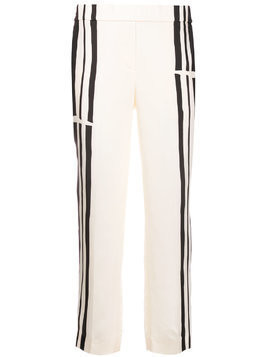 Theory striped twill trousers - White