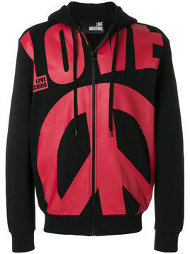Love Moschino oversized slogan zipped front hoodie - Unavailable