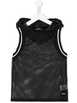 Dkny Kids mesh hooded vest - Black