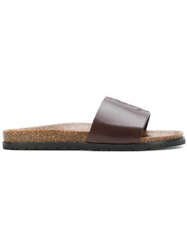 Saint Laurent Jimmy logo slides - Brown