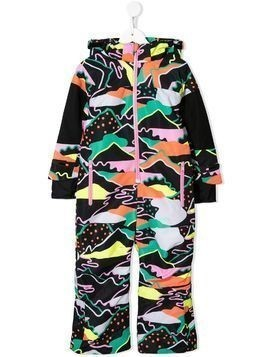 Stella McCartney Kids landscape print snowsuit - Black