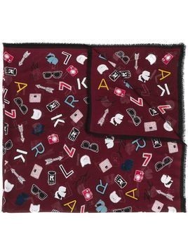 Karl Lagerfeld all-over print scarf - Red