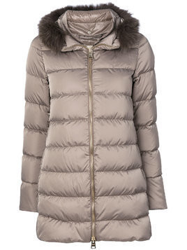 Herno detachable fur collar puffer jacket - Nude & Neutrals