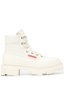 Both ridged sole lace-up boots - White