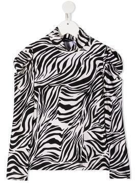 Monnalisa zebra print high neck top - Black