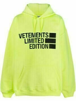 Vetements oversized logo-print hoodie - Yellow