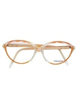 Yves Saint Laurent Pre-Owned twisted-stripe frame glasses - Yellow