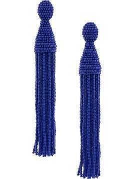Oscar de la Renta Long Beaded Tassel earrings - Blue