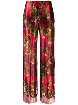 F.R.S For Restless Sleepers Owl print trousers - Red