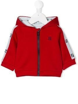 Fendi Kids striped sleeve zip hoodie - Red