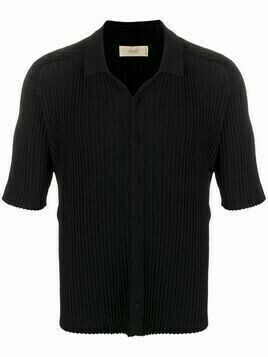 Maison Flaneur ribbed-knit button-up top - Black