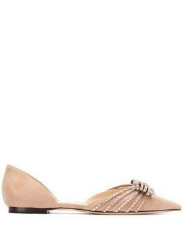 Jimmy Choo Kaitence crystal-embellished ballerina shoes - PINK