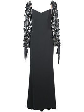 Badgley Mischka floral appliqué gown - Grey