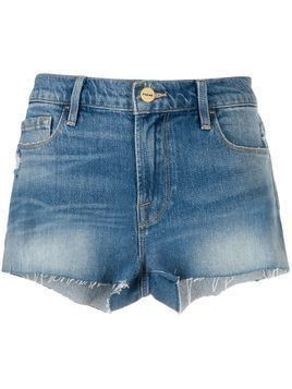 Frame frayed high-rise denim shorts - Blue