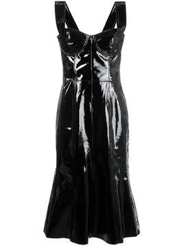 Natasha Zinko corset patent leather midi dress - Black