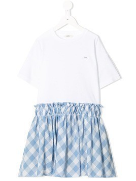 Fith checked skirt dress - White