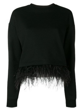 Derek Lam 10 Crosby feather trim sweatshirt - Black
