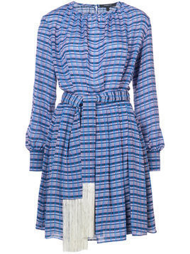 Derek Lam - Long Sleeve Midi Dress with Tasseled Belt - Damen - Silk/Viscose - 42 - Blue