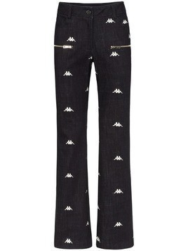 Charm's x Kappa logo embroidered straight leg jeans - Black