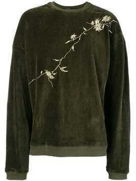 Haider Ackermann embroidered velvet sweatshirt - Green