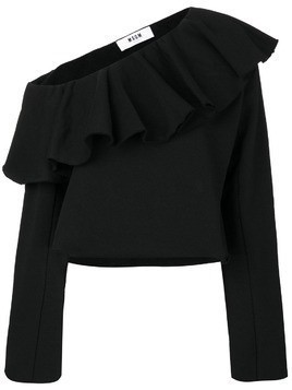 MSGM off-shoulder frilled sweatblouse - Black