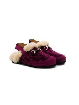 Gallucci Kids shearling buckled slippers - PURPLE
