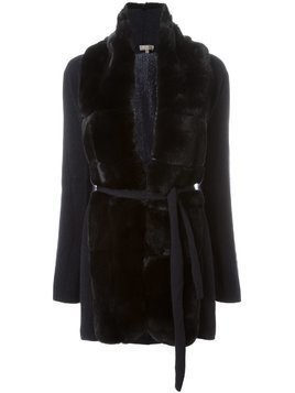 N.Peal 'Milano' fur placket jacket - Blue