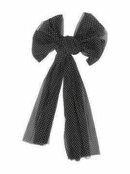 Douuod Kids polka-dot chiffon bow brooch - Black
