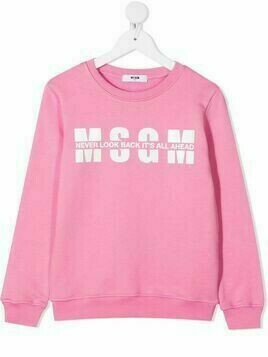 Msgm Kids logo-print cotton sweatshirt - PINK