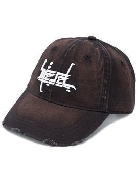 Diesel bleached effect embroidered baseball cap - Black