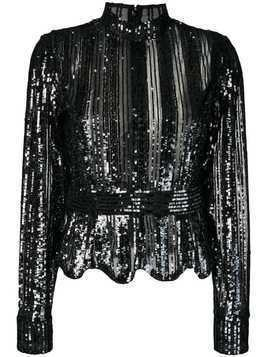 Derek Lam 10 Crosby sequin stripe top - Black