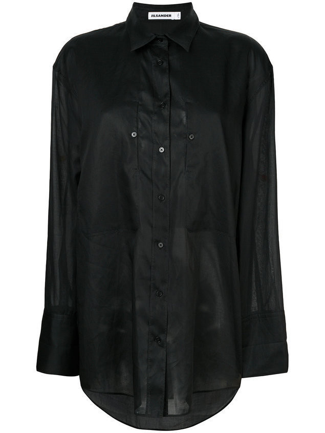 Jil Sander oversized button shirt - Black