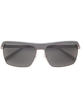 Gold And Wood square polarized sunglasses - Black