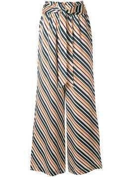 Asceno diagonal stripe palazzo trousers - White