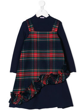 Il Gufo tartan pinafore dress - Blue