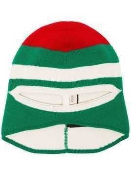 Gucci red and green ribbed wool hat mask