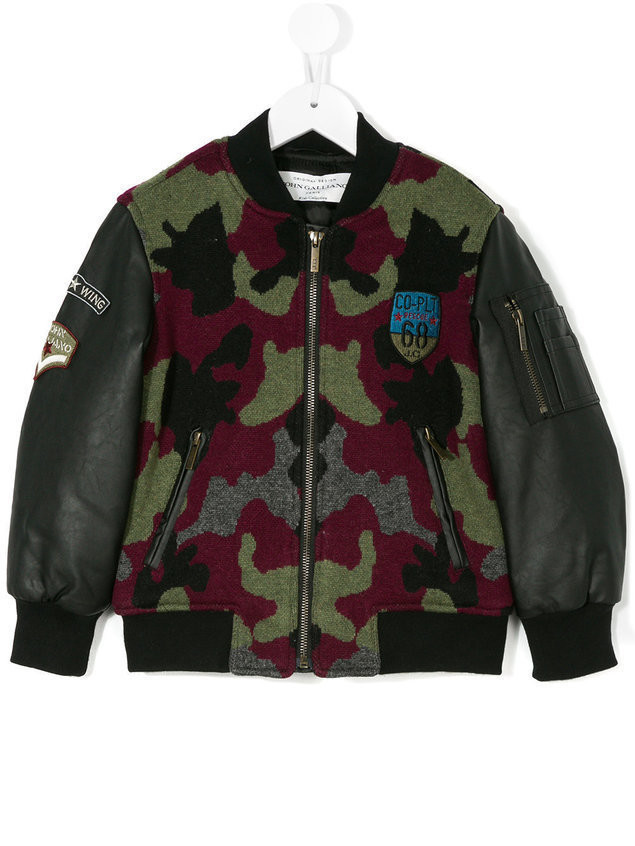 John Galliano Kids camouflage bomber jacket - Multicolour