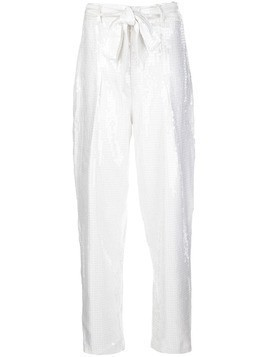 Izaak Azanei sequinned tapered-leg trousers - White