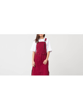Lazy Oaf Contrast Stitch Pinafore Dress Red