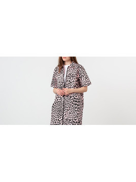 Lazy Oaf Leopard Shirt Dress Pink