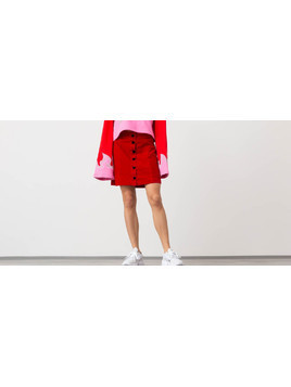 Lazy Oaf Heart Button Velvet Skirt Red
