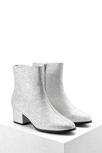 Glitter Faux Leather Booties