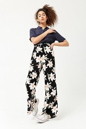 Floral High-Rise Flare Pants