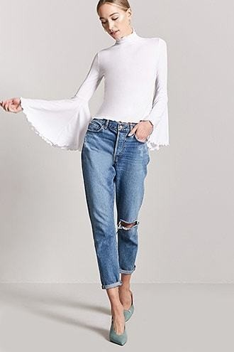 Lettuce-Edge Bell-Sleeve Top