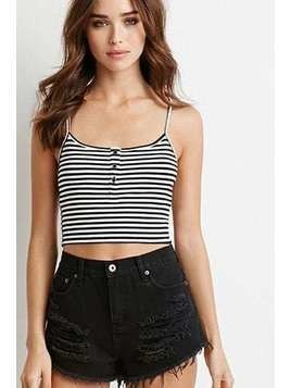 Ribbed Knit Stripe Cropped Cami